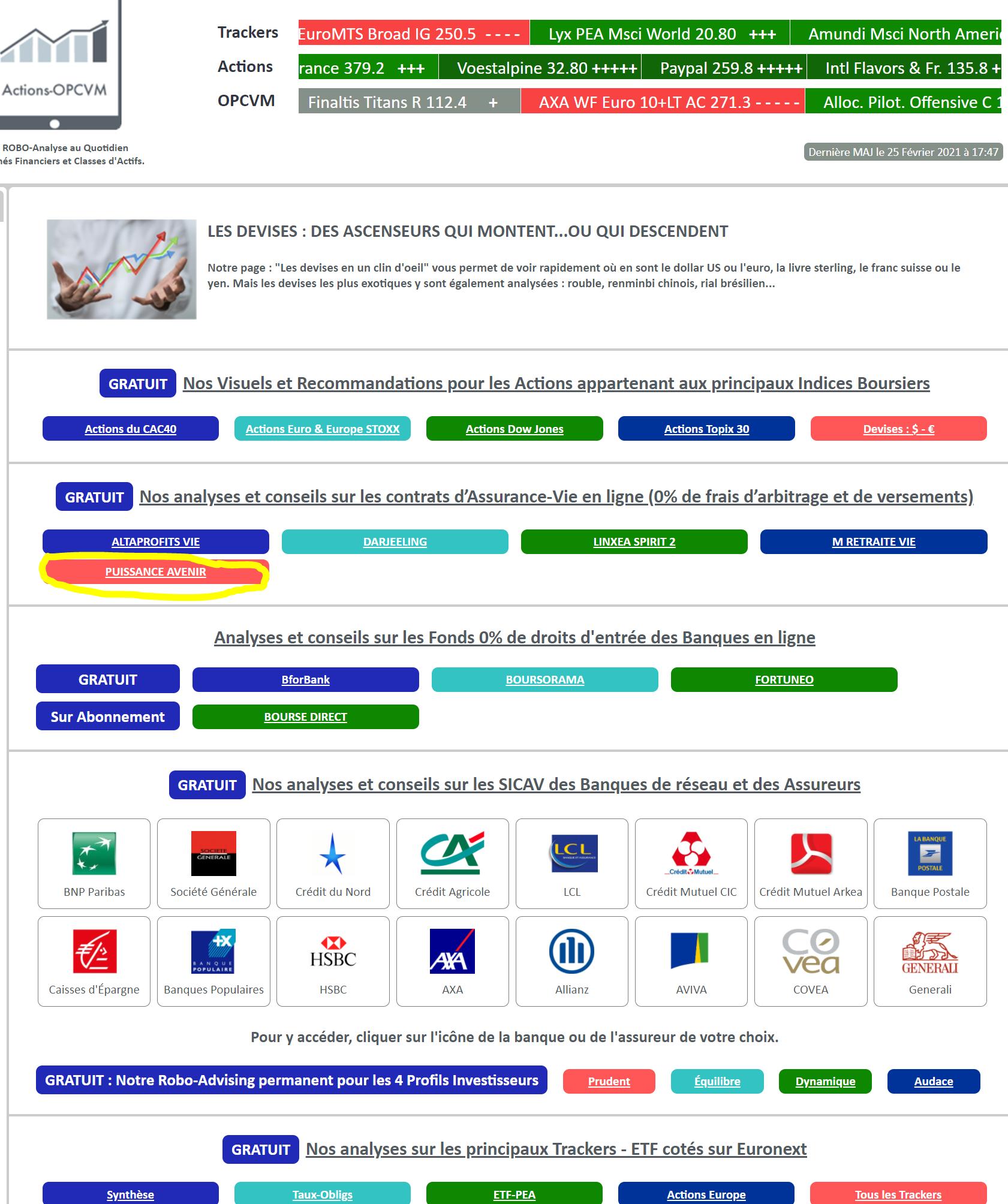 Site Actions-OPCVM.com - Extrat de la page d'Accueil