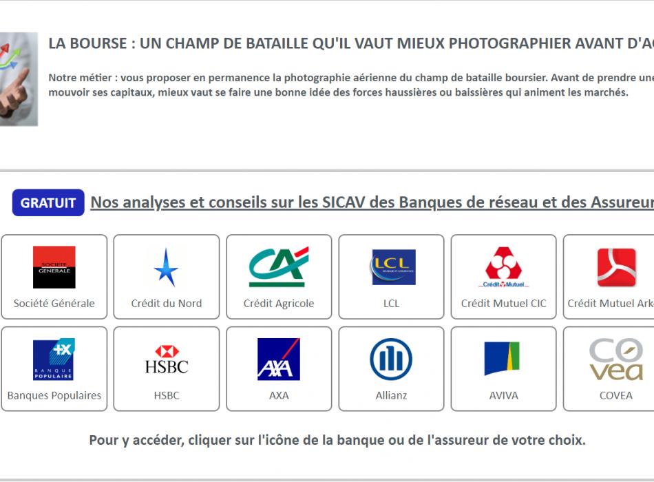 GRATUIT - Notre Analyse Quotidienne des Fonds / SICAV des BANCASSUREURS FRANCAIS